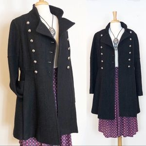 Guess • Wool Boucle A-Line Military Button Coat